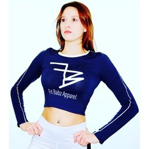Fit Babz Long Sleeve Cropped Navy Tee